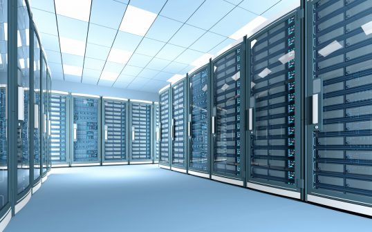 New data center with rows of network servers, bright illumination